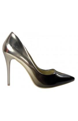 Ombre szpilki wysokie czarno złote buty