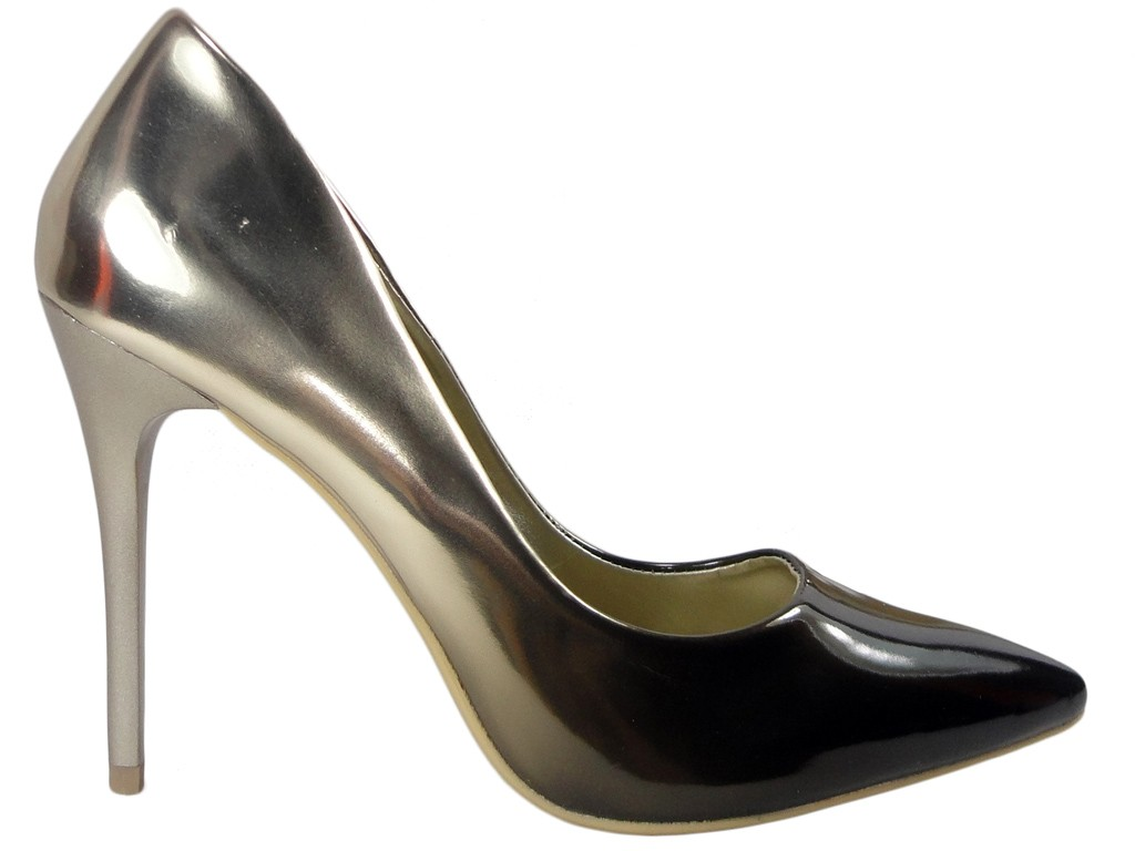 Ombre pins high black gold boots - 1