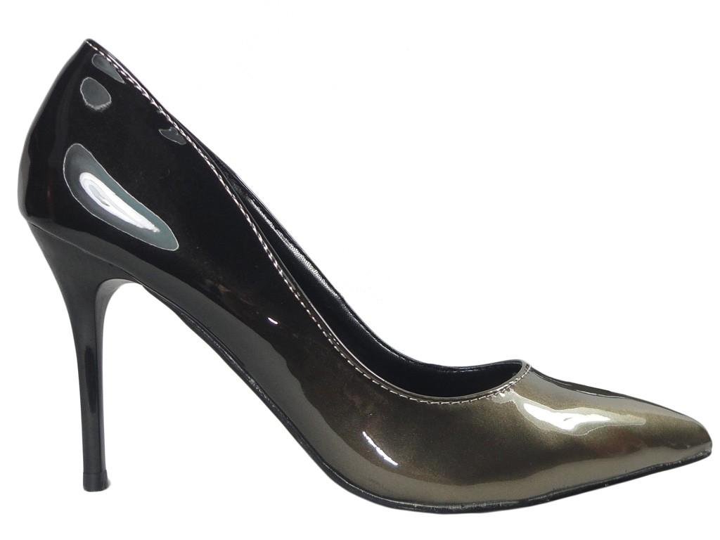 Ombre High Heels schwarz-goldene Damenschuhe