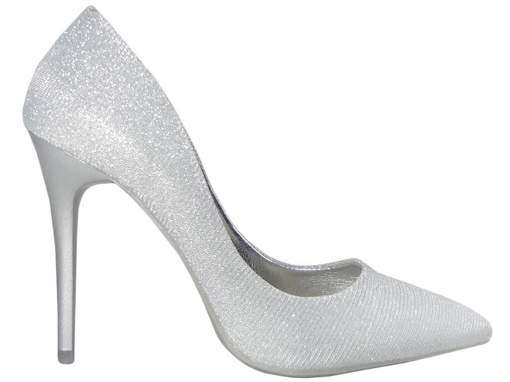 Silver pins slim women's high boots - 1