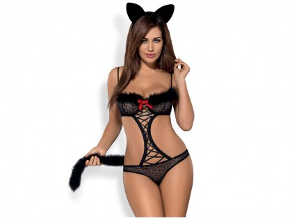 Dressing up with erotic cheetah Obsessive lingerie - 1