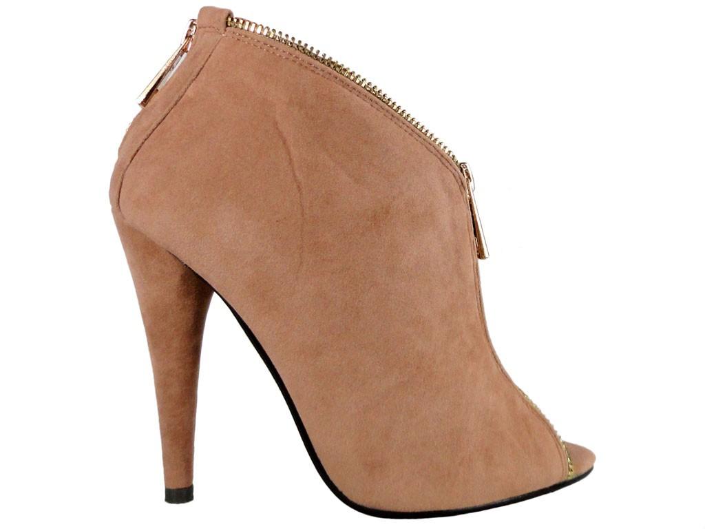 Open toe suede beige boots - 1