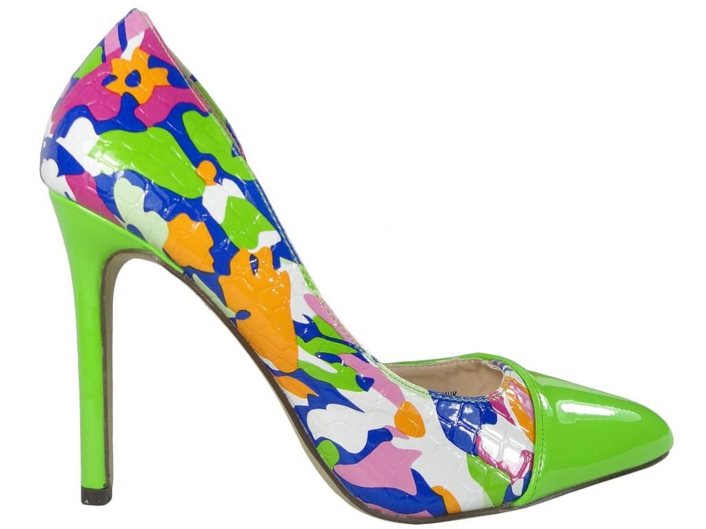 Grüne High Heels mit floralen Damenschuhen - 1