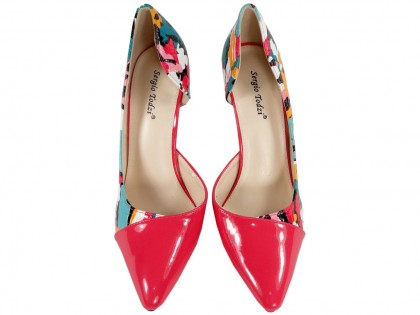 Floral pins ladies' shoes with cut-out - 2