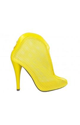 Żółte botki letnie ażurowe szpilki buty damskie