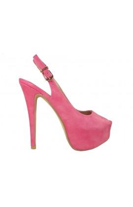 Różowe szpilki na platformie obuwie damskie