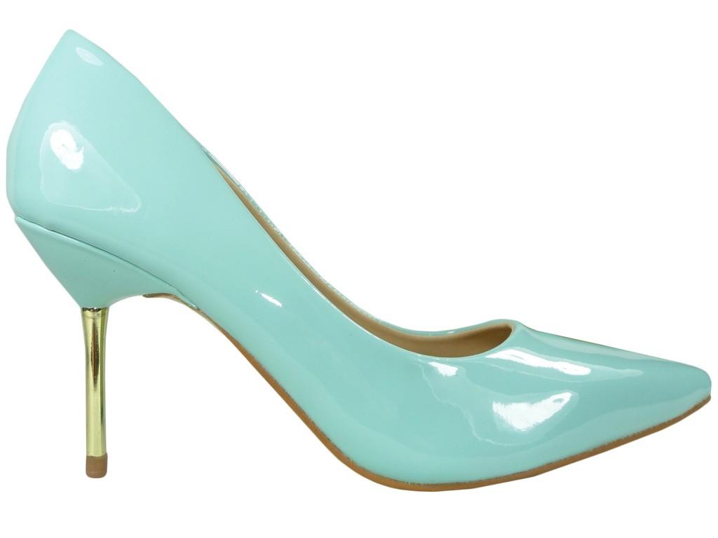 Blau blau High Heels Schuhe Metall Absatz - 1