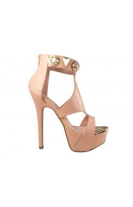 Buty na platformie różowe sandały