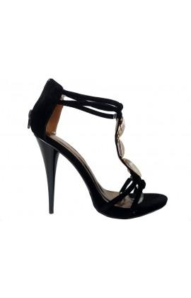 Czarne sandały na szpilce z paskiem w kostce