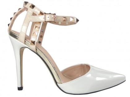 Weiße High Heels mit Knöchelriemen - 1
