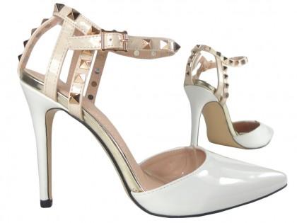 Weiße High Heels mit Knöchelriemen - 2