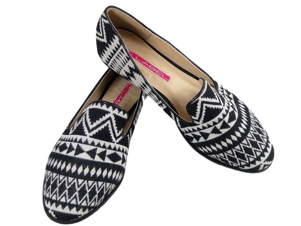 LOW WHITE AND BLACK MOCCASINS WOMEN'S SHOES - 1