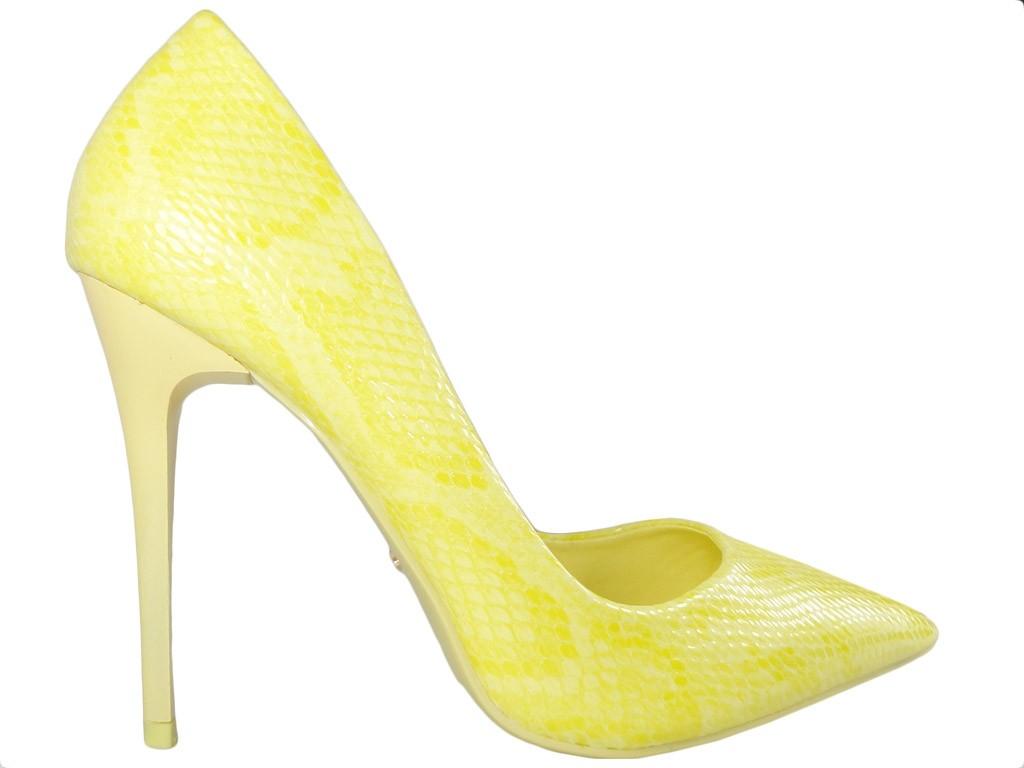 Gelbe High Heels Damenschuhe Laster matt - 1