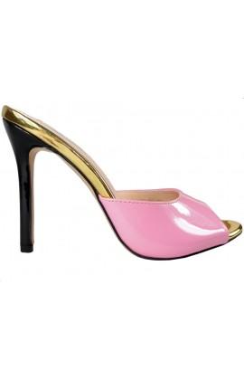 Jasno różowe klapki na szpilce buty damskie