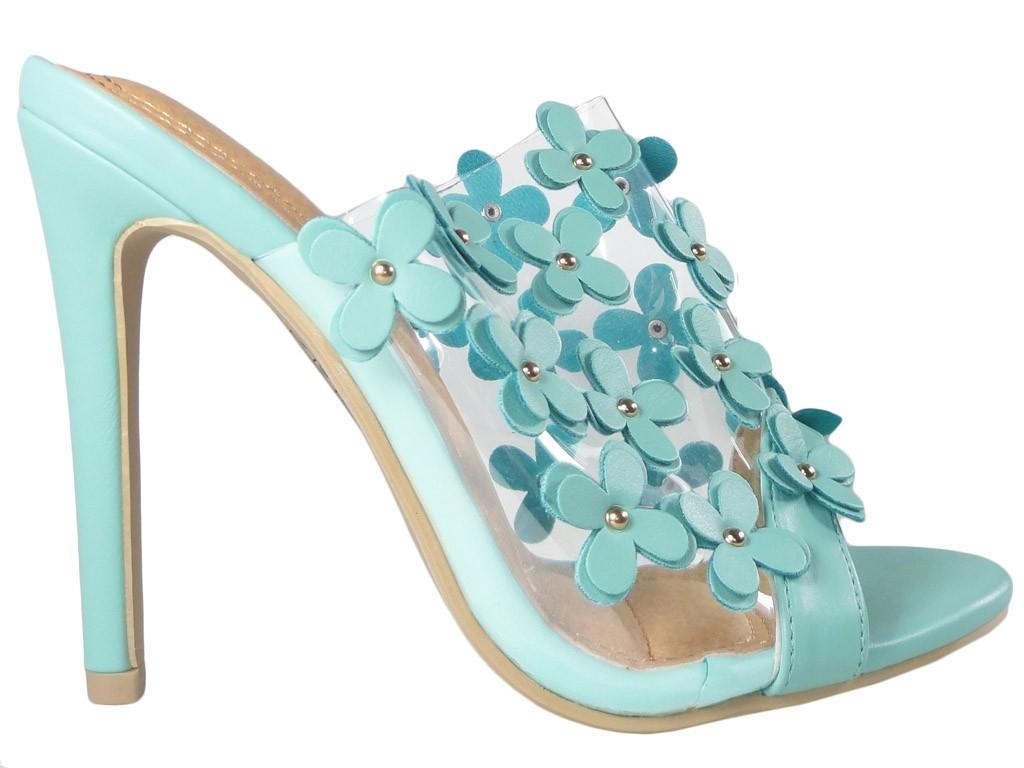 Clear blue ladies' flip-flops in heel - 1
