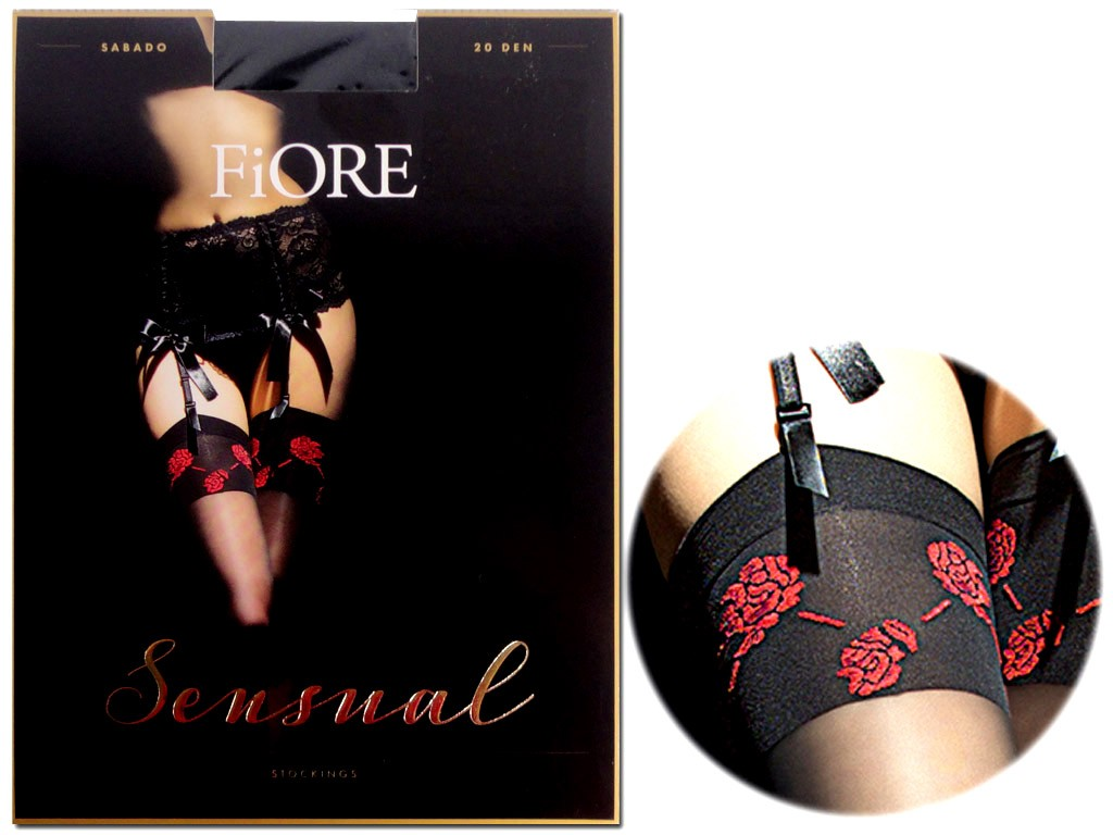 Sensual waist-length stockings with a floral cuff - 3
