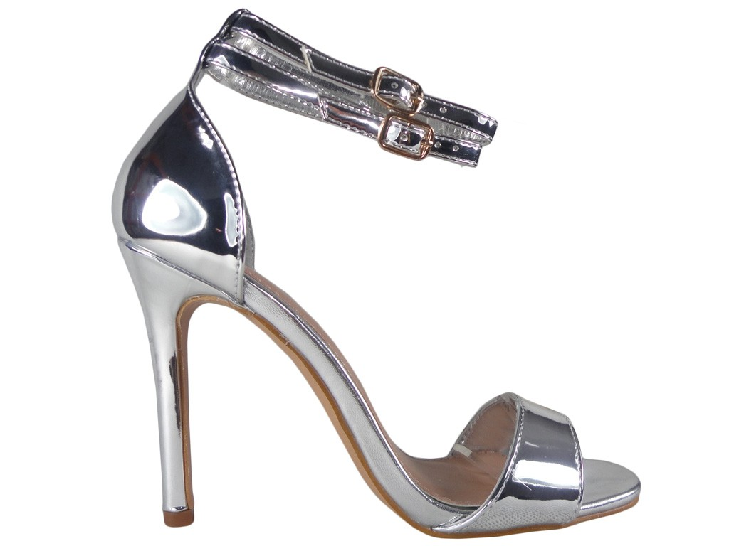 Silver mirror sandals on a pin strap - 1