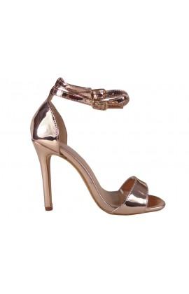 Złote lustrzane sandały na szpilce pasek