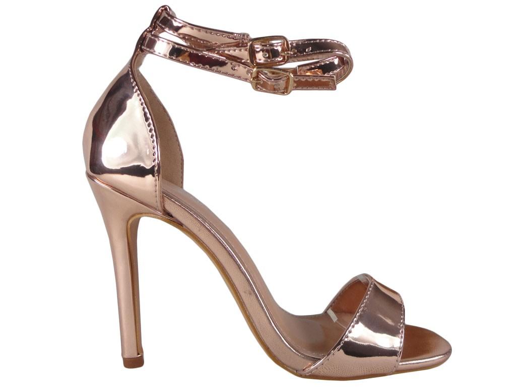 Sandale cu oglindă aurie cu toc cu curea - 1