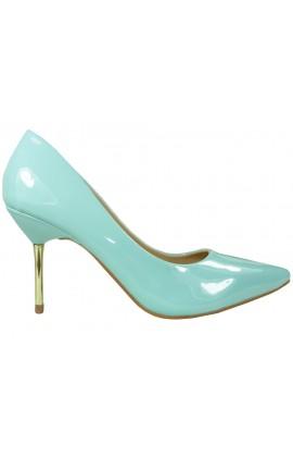Niebieskie szpilki niskie buty czółenka