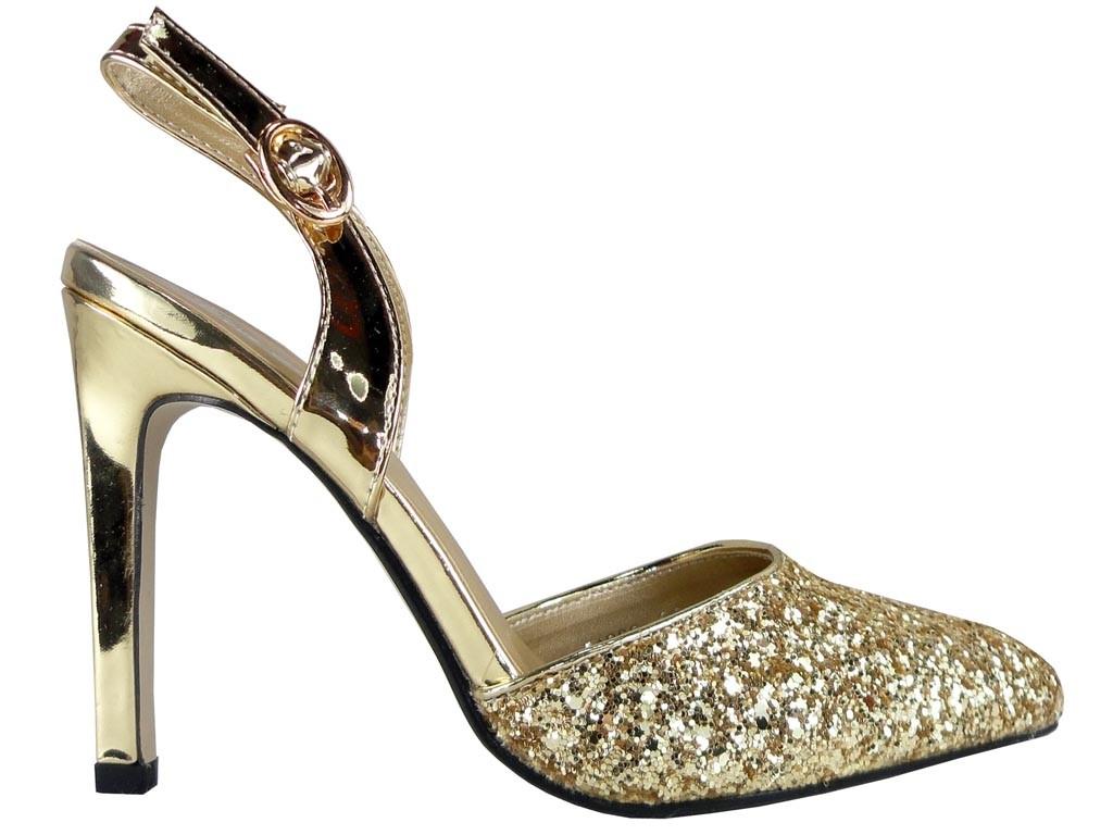 buty na wesele damskie złote