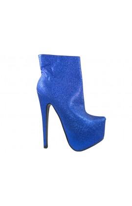 Szpilki wysokie botki niebieskie brokatowe
