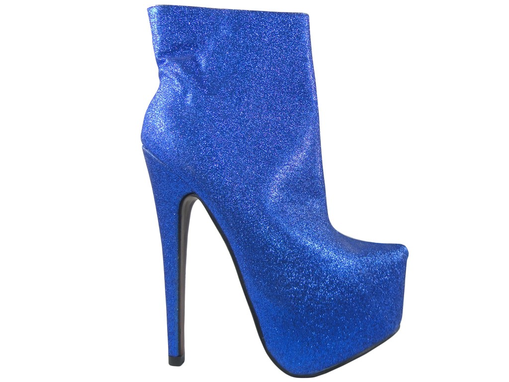 High Heels blaue Glitzerstiefel - 1
