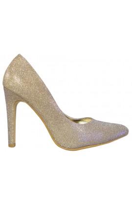 Złote opalizujące szpilki czółenka damskie