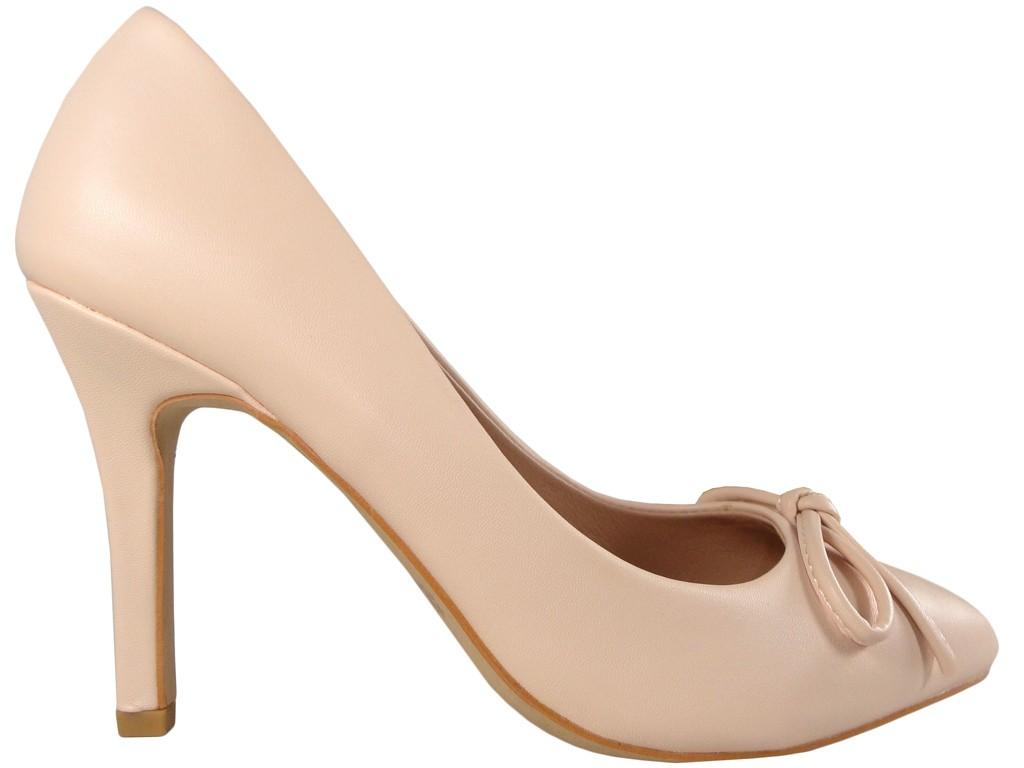 Stilettos Pumps rosa leuchtend rosa Schleife - 1