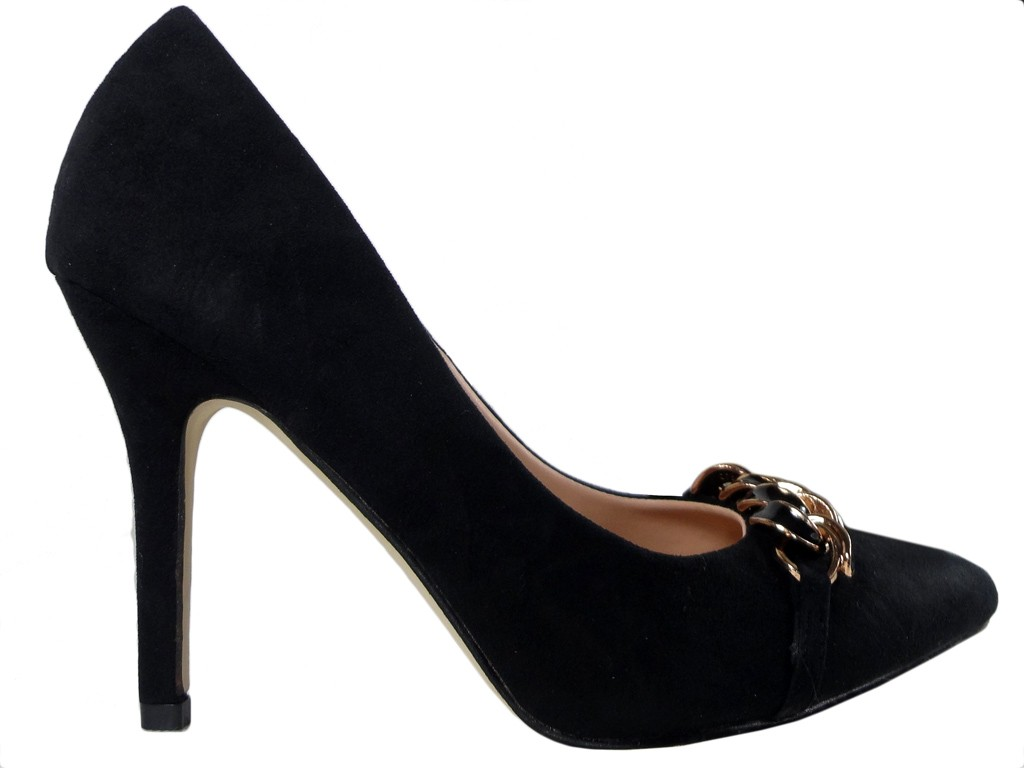 Black suede pins with chain - 1