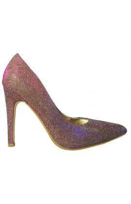 Brązowe opalizujące kolorowo szpilki buty