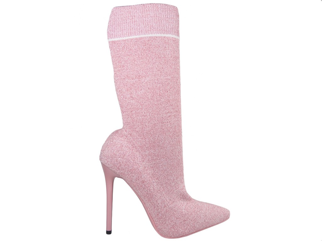 Pink boots pink pins sports sock style - 1