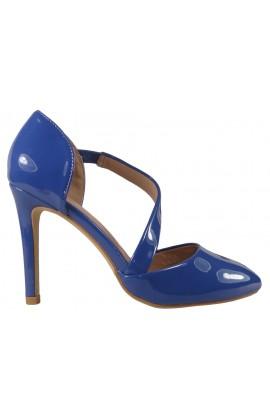 Chabrowe kobaltowe szpilki buty z wcięciem