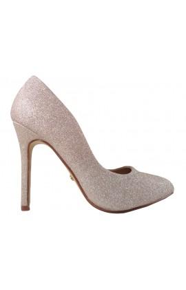 Złote brokatowe szpilki buty damskie