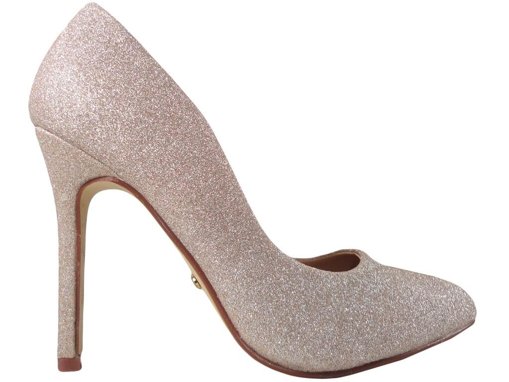 53dc2869d94eb Złote brokatowe szpilki buty damskie - KOKIETKI