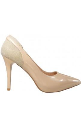 Beżowe szpilki czółenka błyszczące buty