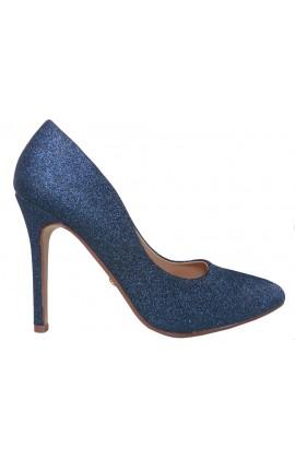 Kobaltowe granatowe szpilki brokatowe buty
