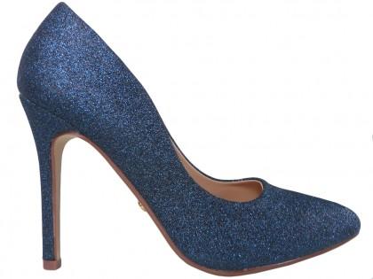 Cobalt blue glitter pins boots - 1
