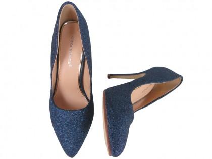 Cobalt blue glitter pins boots - 2