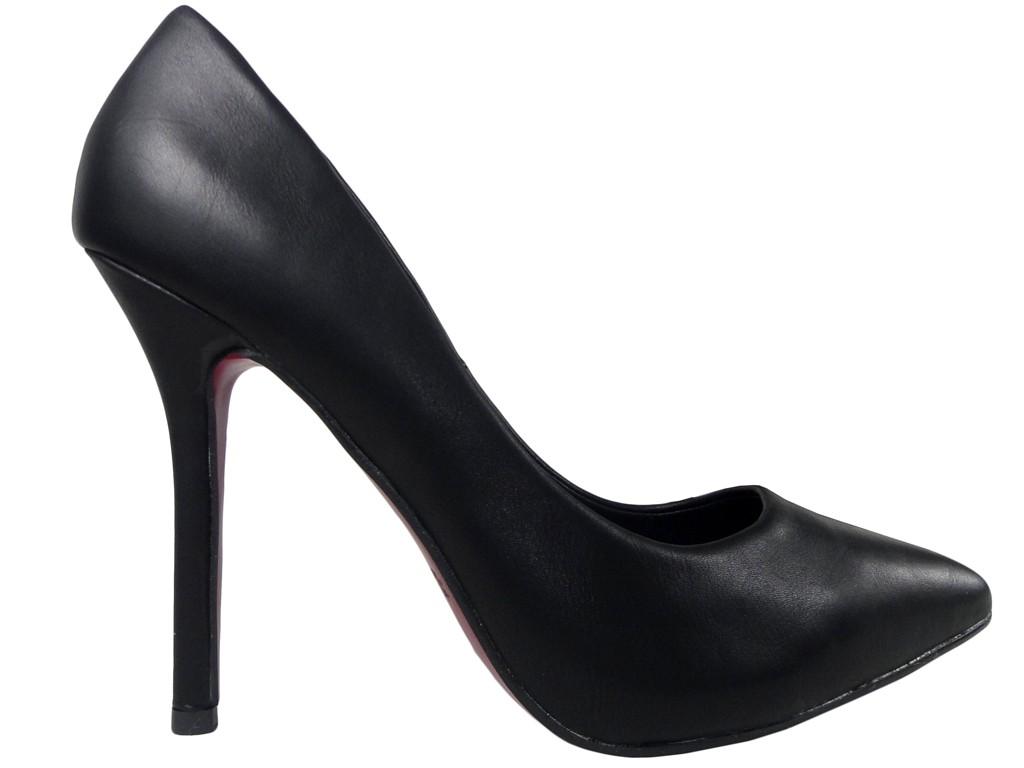 Black pins matt ladies' shoes neat - 1
