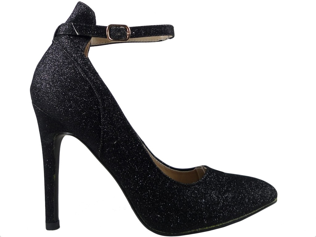 Schwarze High Heels Schuhe mit Glitzergürtel - 1