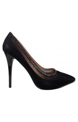 Czarne brokatowe szpilki buty z cyrkoniami