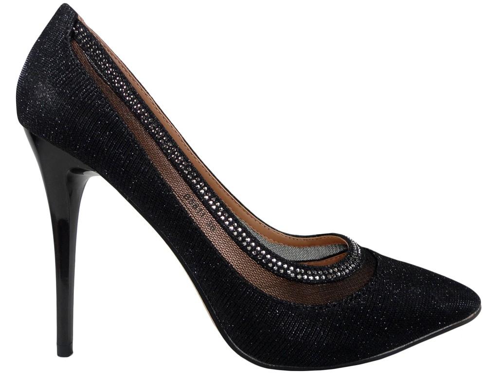 Black brocade pins boots with zirconia - 1
