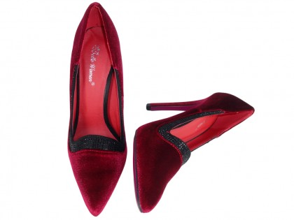 Red velour pins ladies' shoes - 2