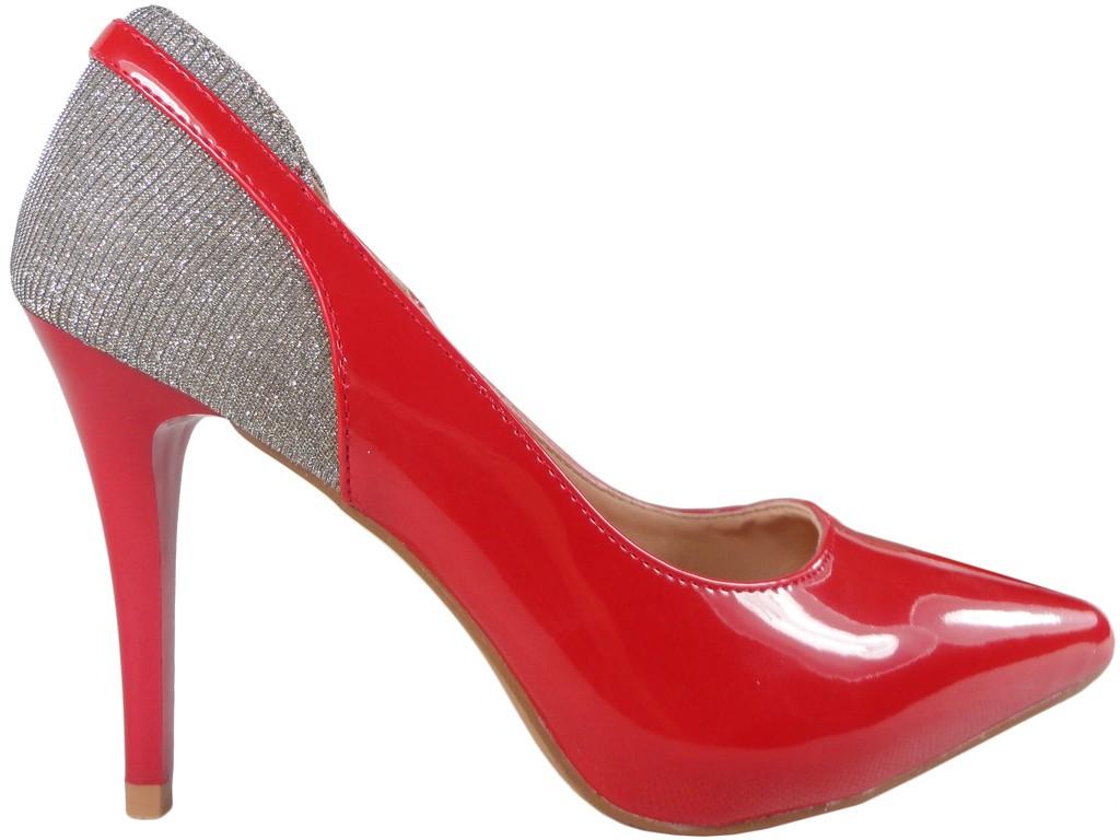 8cc2b962 Czerwone szpilki czółenka błyszczące buty - KOKIETKI