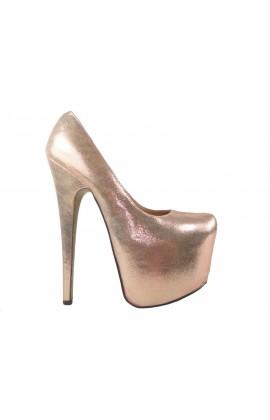 Złote wysokie szpilki high heels na platformie