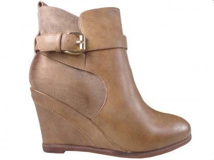 Beige boots on eco-shoes leather - 1
