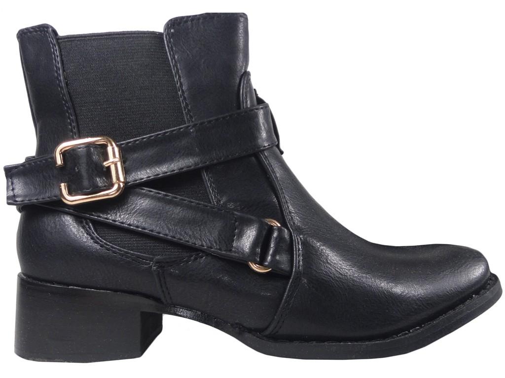 Schwarze niedrige Stiefel für Frauen Jodhpur Stiefel Öko-Leder - 1