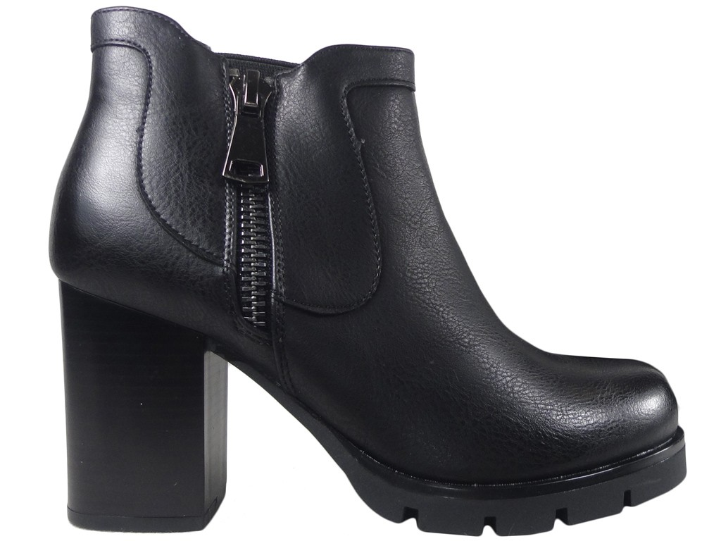 Tall black ladies' boots eco leather - 1