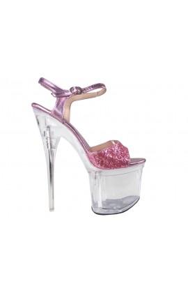 Różowe brokatowe przeźroczyste szpilki szklanki
